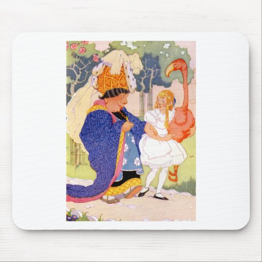 The Duchess Gives Alice TIps on Flamingo Croquet Mouse Pad
