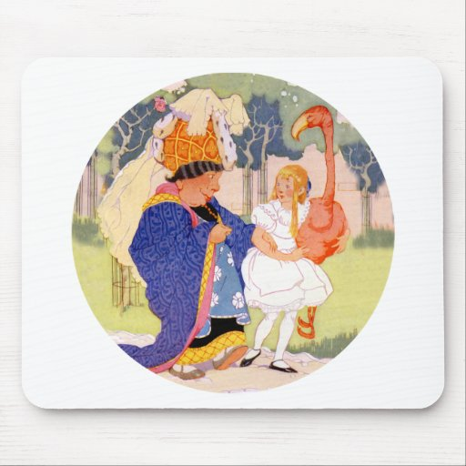The Duchess Offers Alice Tips on Flamingo Croquet Mousepad