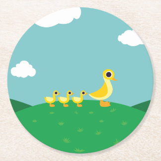The Duck Family Round Paper Coaster