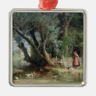 The Duck Pond Silver-Colored Square Decoration