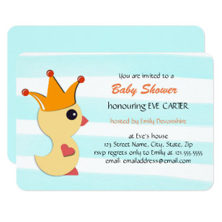 The Duckling Prince Baby Shower - aqua blue Card