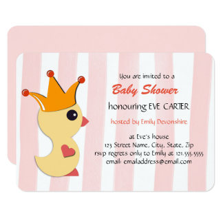 The Duckling Prince Baby Shower - rose pink Card