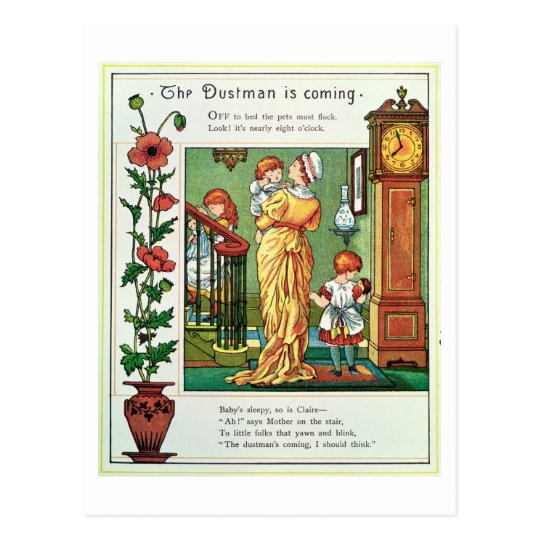 The Dustman is Coming (nursery rhyme illustration) Postcard