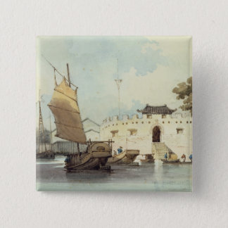 The Dutch Folly Fort off Canton (watercolour) 15 Cm Square Badge
