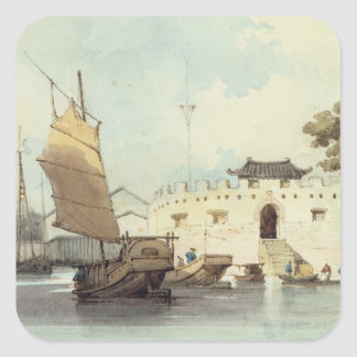 The Dutch Folly Fort off Canton (watercolour) Square Sticker