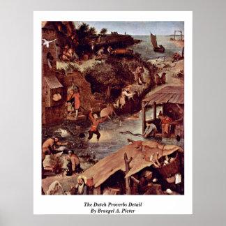 The Dutch Proverbs Detail By Bruegel A. Pieter Poster