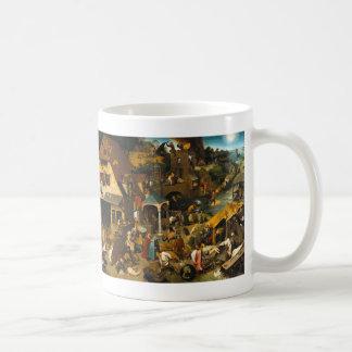 The Dutch Proverbs - Pieter Bruegel Basic White Mug
