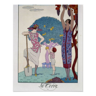 The Earth 1925 colour litho Poster