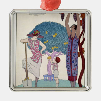 The Earth, 1925 (colour litho) Silver-Colored Square Decoration