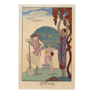 The Earth, 1925 (colour litho) Wood Wall Art