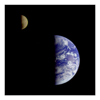 The Earth & Moon As Seen From Space Poster