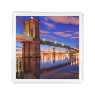 The East River, Brooklyn Bridge, Manhattan Acrylic Tray
