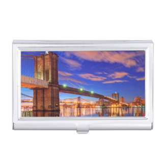 The East River, Brooklyn Bridge, Manhattan Business Card Holder