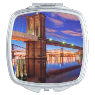 The East River, Brooklyn Bridge, Manhattan Compact Mirror