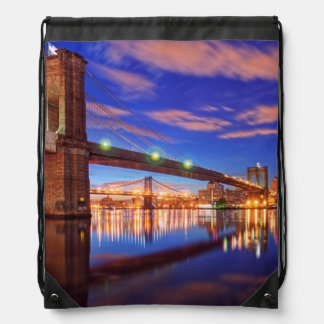 The East River, Brooklyn Bridge, Manhattan Drawstring Bag