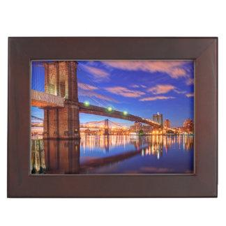 The East River, Brooklyn Bridge, Manhattan Keepsake Box