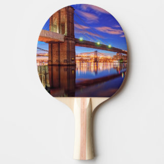 The East River, Brooklyn Bridge, Manhattan Ping Pong Paddle
