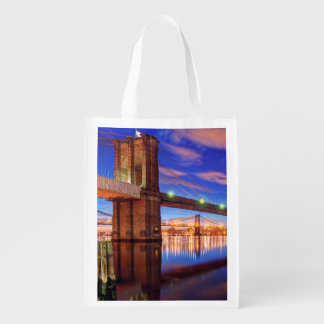 The East River, Brooklyn Bridge, Manhattan Reusable Grocery Bag