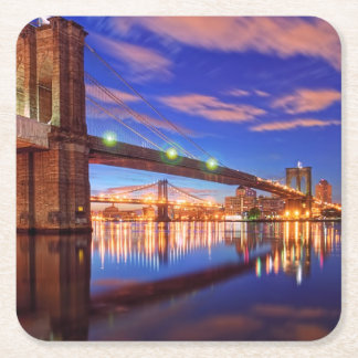 The East River, Brooklyn Bridge, Manhattan Square Paper Coaster