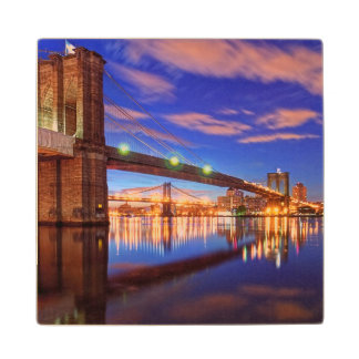 The East River, Brooklyn Bridge, Manhattan Wood Coaster