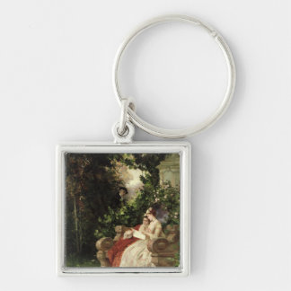 The Eavesdropper, 1868 Silver-Colored Square Key Ring