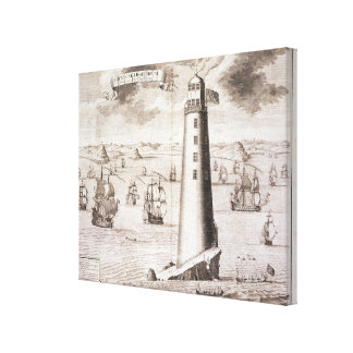 The Eddystone Lighthouse, engraved by Hendrick Hul Canvas Print