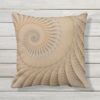 The Edge of the Sea Abstract Tan Spiral Cushion