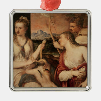 The Education of Cupid, c.1565 Silver-Colored Square Decoration