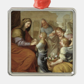 The Education of the Virgin, 1658 Silver-Colored Square Decoration
