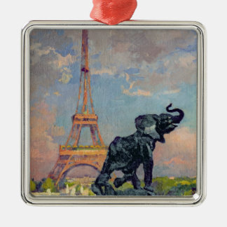 The Eiffel Tower and the Elephant by Fremiet Christmas Ornament