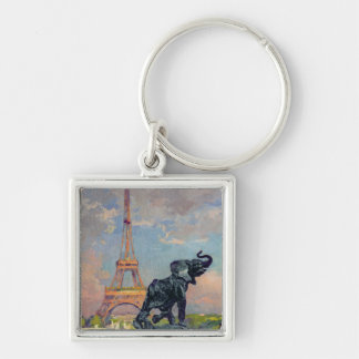 The Eiffel Tower and the Elephant by Fremiet Silver-Colored Square Key Ring
