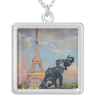 The Eiffel Tower and the Elephant by Fremiet Silver Plated Necklace