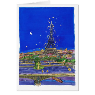 The Eiffel Tower at night Card
