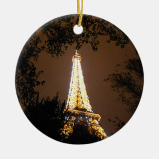 The Eiffel Tower at Night Christmas Ornament
