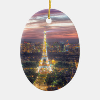 The Eiffel Tower at night, Paris France Ceramic Oval Decoration