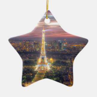 The Eiffel Tower at night, Paris France Christmas Ornament