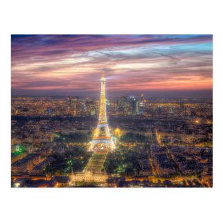 The Eiffel Tower at night, Paris France Postcard