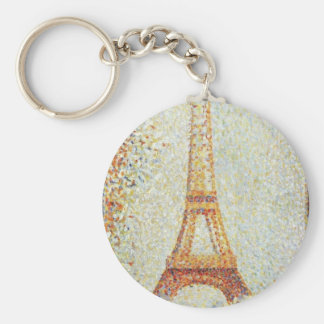 The Eiffel Tower by Georges Seurat Basic Round Button Key Ring