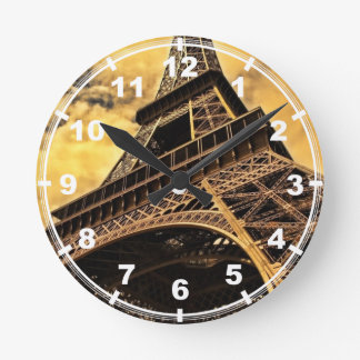 The Eiffel tower in Paris France Round Clock