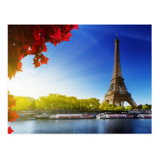 The Eiffel Tower On The River Seine Postcard