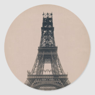 The Eiffel Tower: State of the Construction 1888 Classic Round Sticker