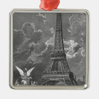 The Eiffel Tower  Universal Exhibition Silver-Colored Square Decoration