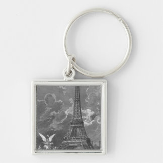 The Eiffel Tower  Universal Exhibition Silver-Colored Square Key Ring