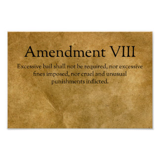 The Eighth Amendment to the U.S. Constitution Poster