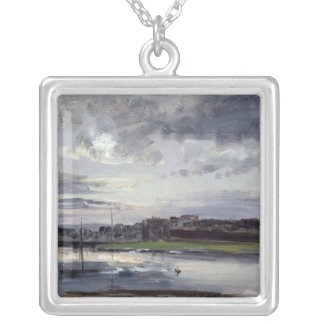 The Elbe and the New Town, Dresden Silver Plated Necklace