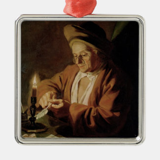 The Elderly Writer Silver-Colored Square Decoration