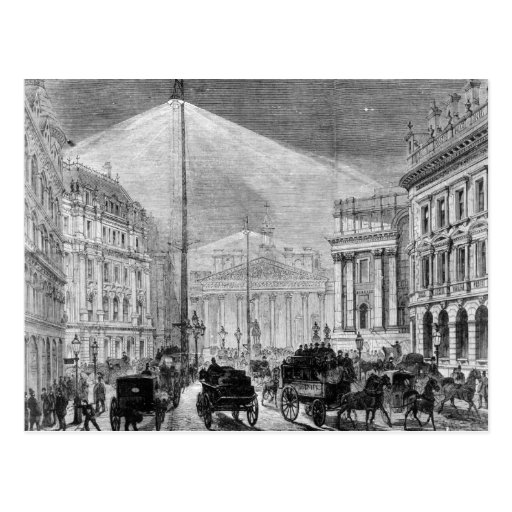 The Electric Light at the Mansion House Postcard