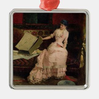 The Elegant Connoisseur, 1883 (oil on canvas) Silver-Colored Square Decoration