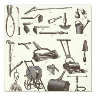 The Elegant Gardener - Antique Garden Tools 13 Cm X 13 Cm Square Invitation Card