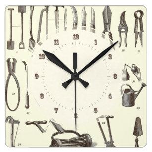 The Elegant Gardener   Antique Garden Tools Square Wall Clock